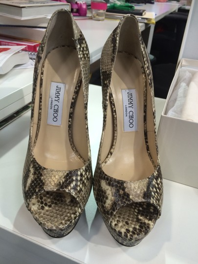 Jimmy Choo Peep Toe Snake skin Pumps Image 1