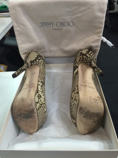 Jimmy Choo Peep Toe Snake skin Pumps Image 2