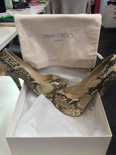 Jimmy Choo Peep Toe Snake skin Pumps Image 3