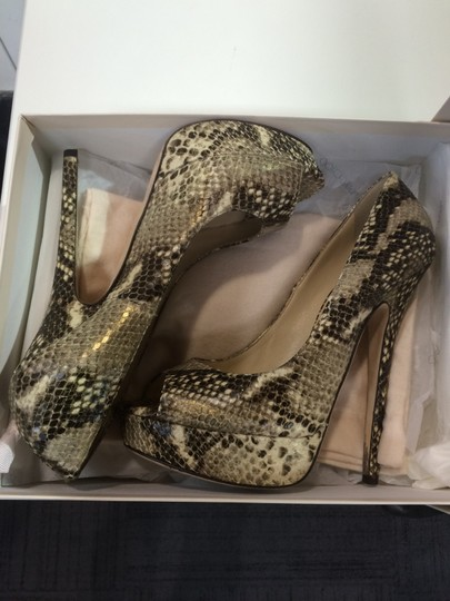Jimmy Choo Peep Toe Snake skin Pumps Image 4