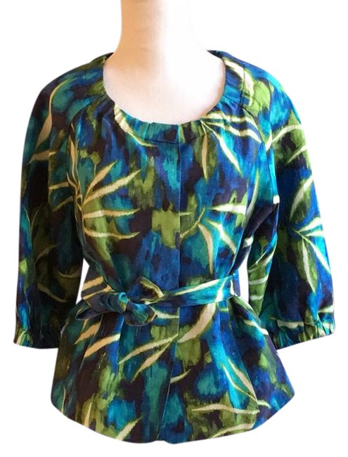 Item - Blue Green White Print Watercolor Linen Silk with Tie Front Blazer Size 6 (S)