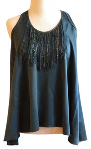 Rebecca Taylor Silk Beaded Chain Fringe Hem Matte Top teal green