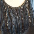 Rebecca Taylor Silk Beaded Chain Fringe Hem Matte Top teal green Image 3