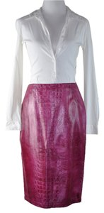 Emanuel Ungaro Leather Size 40 Pencil Skirt Hot Pink