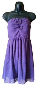 BeBop short dress purple Polka Dot Strapless on Tradesy