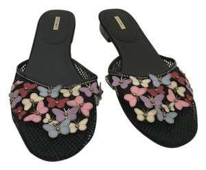 Max Studio NEW black mess covered in multi color leather butterflies leather insoles and soles backless Flats