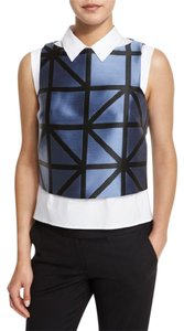 MILLY Cropped Graphic Shell Jacquard Top Graphic-Gridded Ice Blue/Black