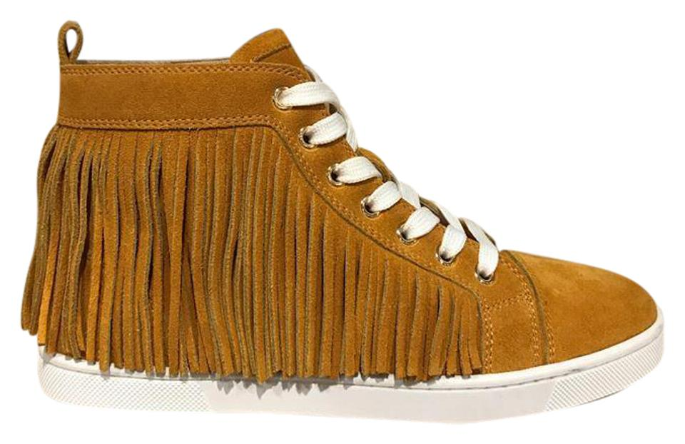 4f1e99e40636 Christian Louboutin Yellow Frangine Fringe Suede Flat Hightop Sneaker  Sneakers