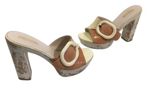 Prada Funky Made Multi color smooth and distressed patent leather large cream buckle splashed white cork heels and base leather lining and insoles Italian E37.5 Platforms