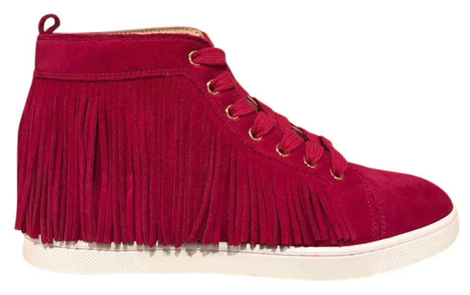 outlet store dba4d cdd81 Christian Louboutin Pink Frangine Fringe Rosa Suede Flat High Top Lace Up  Tie Sneakers Size EU 37 (Approx. US 7) Regular (M, B) 54% off retail