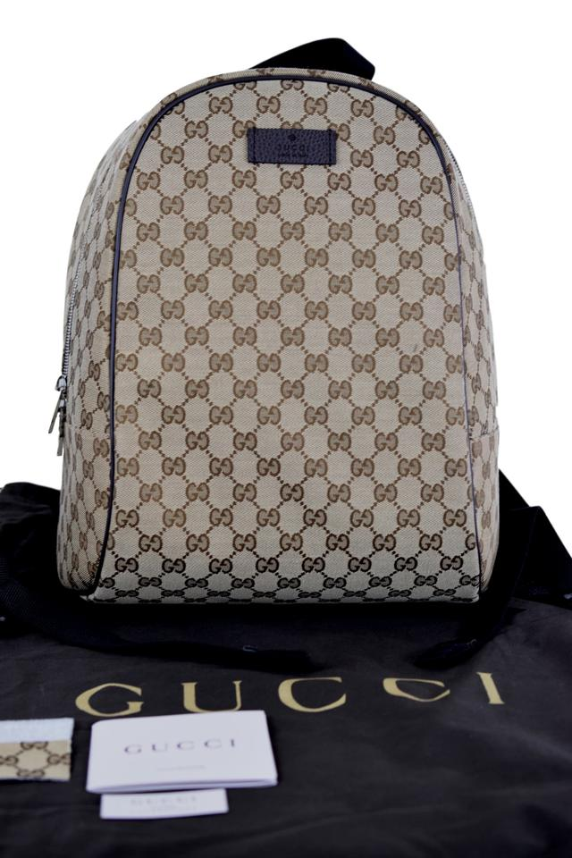 5c8c3926 Gucci 449906 Gg Guccissima Rucksack Travel Beige/Brown Canvas Backpack 43%  off retail