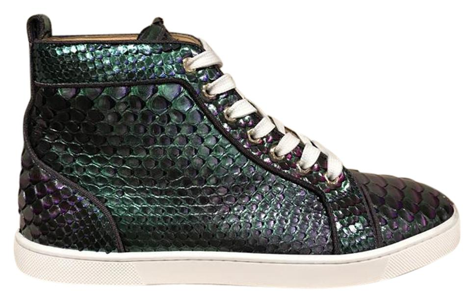 new concept 9e4d6 44d11 Christian Louboutin Green Bip Bip Orlato Flat Python Hightop 39.5 Sneakers  Size US 9.5 Regular (M, B) 59% off retail