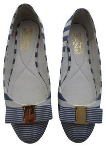 Salvatore Ferragamo Blue White Stripe Flats