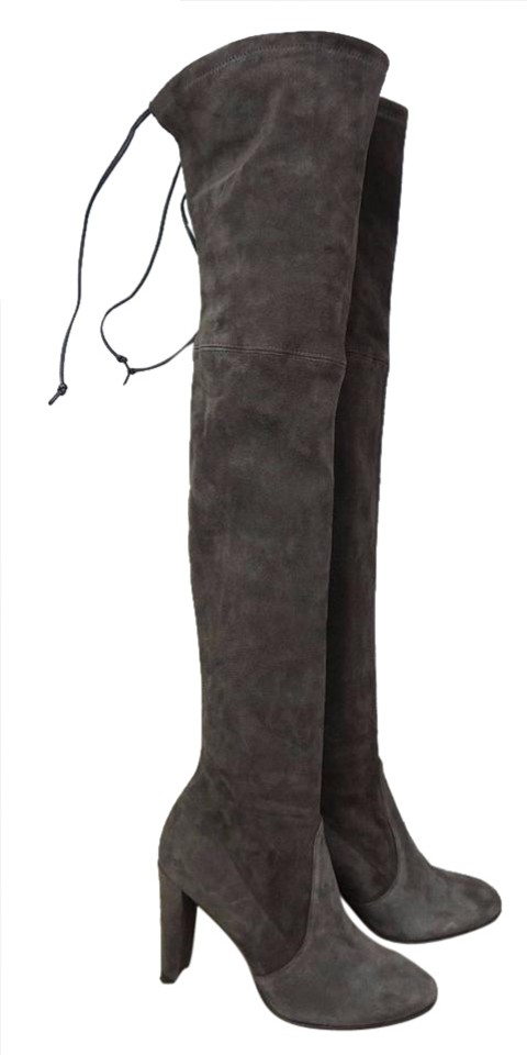 149e2df1d Stuart Weitzman Grey Highland Over The Knee Two Tone Suede Boots/Booties