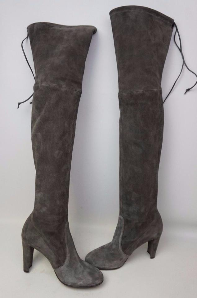 571886ead Stuart Weitzman Grey Highland Over The Knee Two Tone Suede Boots/Booties  Size US 7.5 Regular (M, B) - Tradesy
