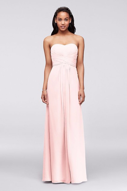 Item - Petal Pink Chiffon Long Strapless and Pleated Bodice F15555 Formal Bridesmaid/Mob Dress Size 14 (L)