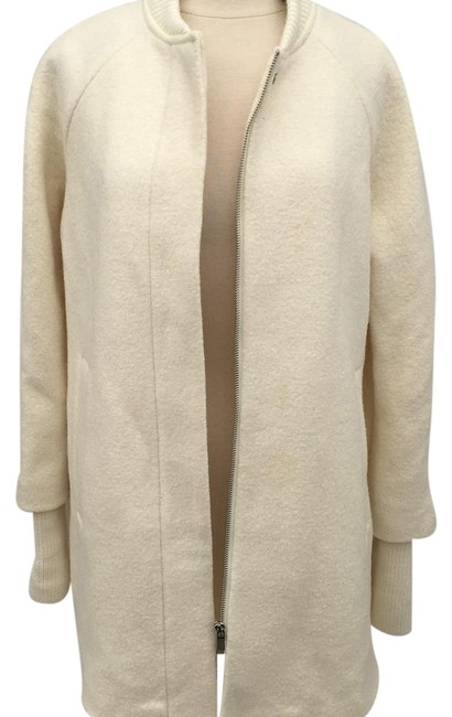 Item - Off White Zip-up Knit Cape with Sleeves In Ecru Coat Size 8 (M)
