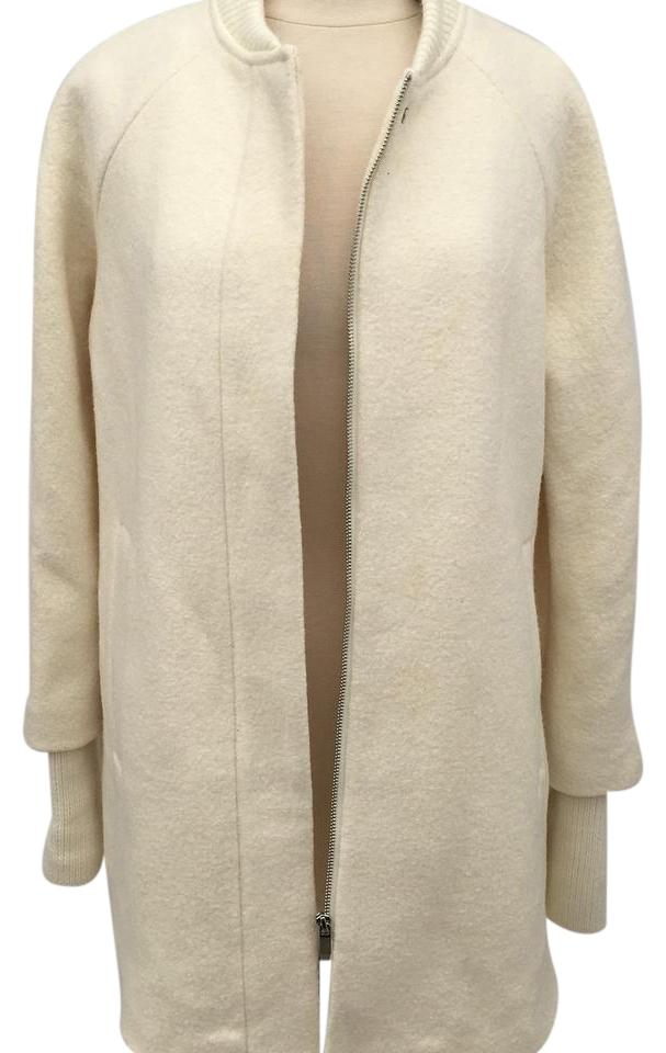 849bc6be Zara Off White Zip-up Knit Cape with Sleeves In Ecru Coat Size 8 (M ...