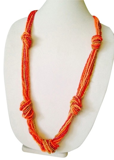 Other Shades Of Coral Seed Bead Knot Necklace