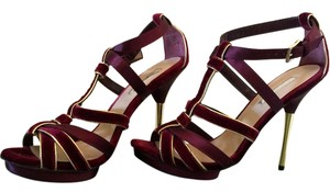 Halston Sexy Elegant Platform Strappy red gold Formal