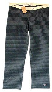 Hollister Striped Elastic Casual Summer Black, gray Leggings