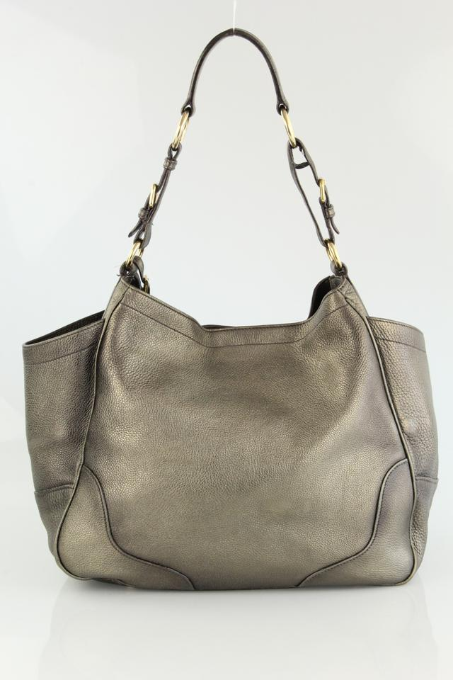 dd5c0b21a631db Prada Vitello Daino Side Pocket Metallic Pewter Leather Hobo Bag - Tradesy