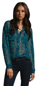 Equipment Silk Sheer Leopard Print Button Down Shirt Multi Green