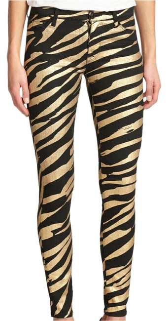 Item - Gold Metallic Coated Tiger Stripe Skinny Jeans Size 28 (4, S)