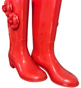 Chanel Red with gold CC Boots