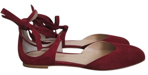 Gianvito Rossi Suede Ankle Tie Red Flats