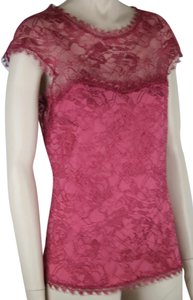 Emilio Pucci Lace Sleeveless Sheer Silk Top PINK