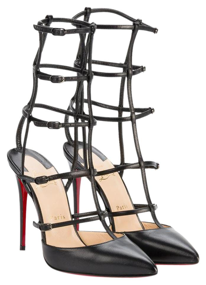 4753bc610a97 Christian Louboutin Black Kadreyana Leather Caged Strappy Heels Sandals