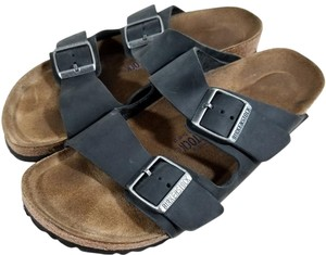 Birkenstock Oiled-leather Suede-covered Soft Footbed Cork And Latex Black Nubuck Sandals