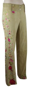 DOLCE & GABBANA Embroidered Goatskin Suede Leather Straight Pants GOLD, BEIGE, TAN