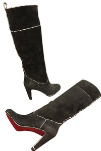 Christian Louboutin Heels Knee High Suede Louloubotta Snake Grey Boots