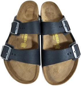 Birkenstock Oiled-leather Suede-covered Cork And Latex Black Nubuck Sandals
