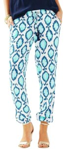 Lilly Pulitzer Baggy Pants Blue, white, aqua