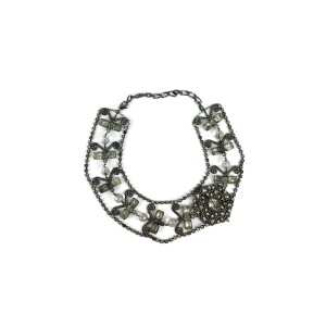 Erickson Beamon Dark Silver Crystal Statement Necklace