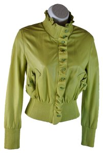 Ermanno Scervino Frill Crop Ribbed Trim Lime Green Leather Jacket
