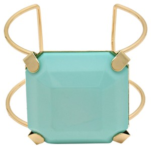 Mint Green Gold Block Cuff Bracelet Bangle