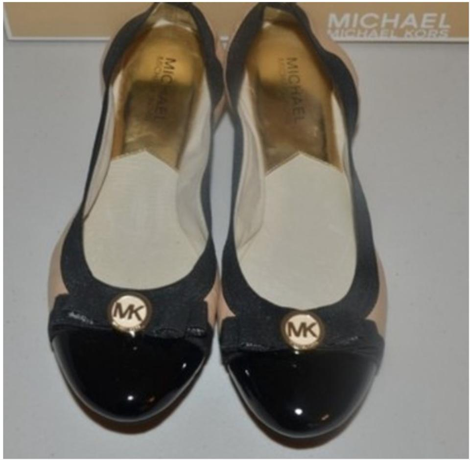 21c75543985 Michael Kors Nude Black New Dixie with Bow Ballet Flats Size US 8.5 ...