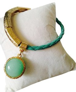 Neiman Marcus Amazonite 16mm, Gold-Tone Braid Stretch Bracelet