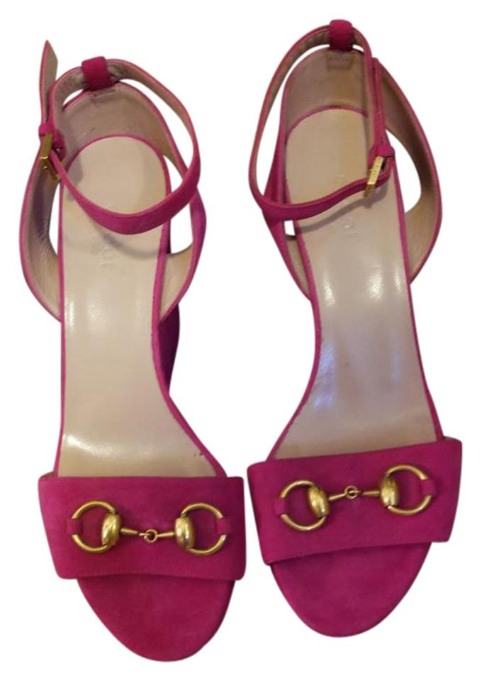 dcc19bba0ec Gucci Fuchsia 5523 Horsebit Suede Leather Wedge Sandal 38 Us 338959  Platforms