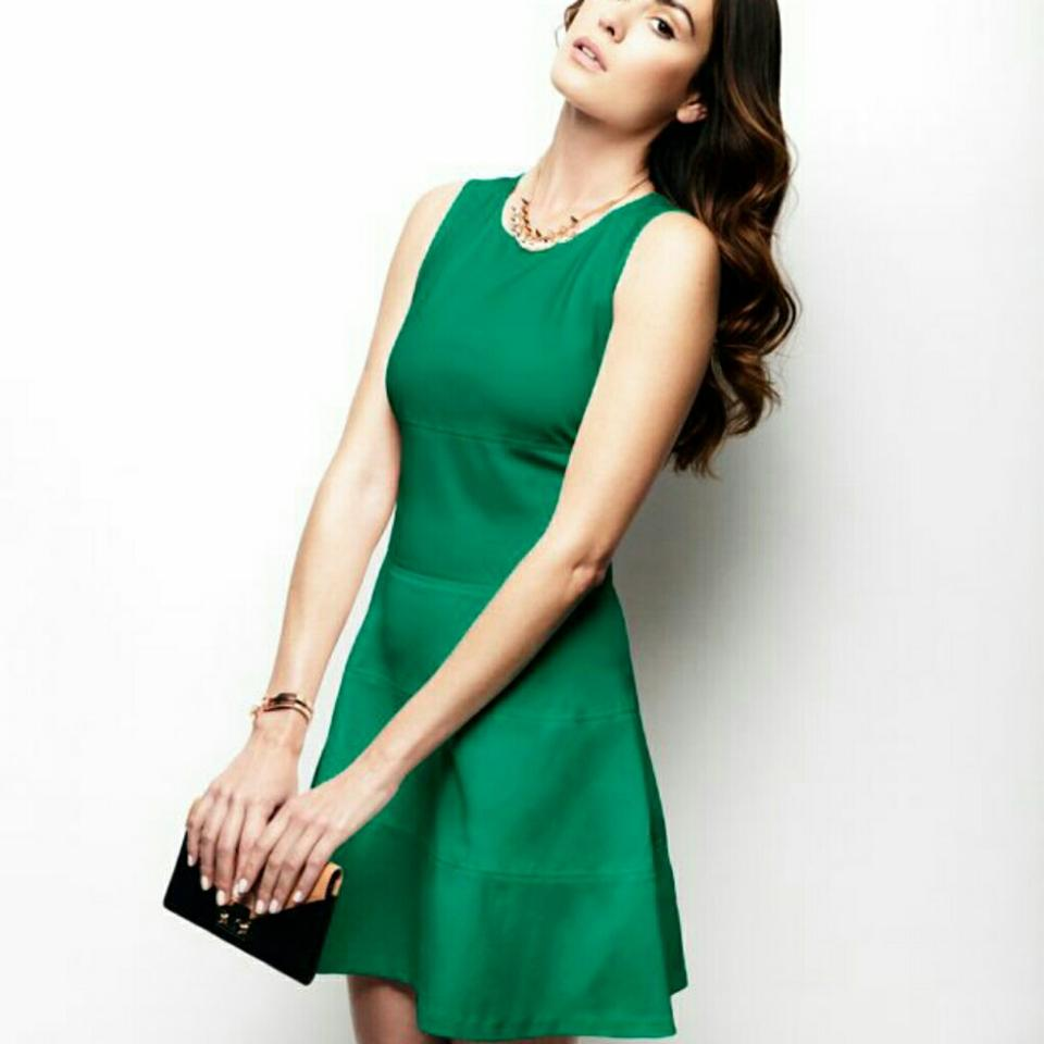 INTERMIX Green Worn Once Exclusive Seamed Flare Short Cocktail Dress ...