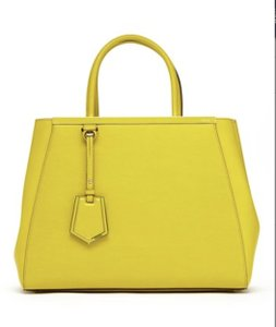 Fendi 2jours Leather Shopper Tote in Yellow