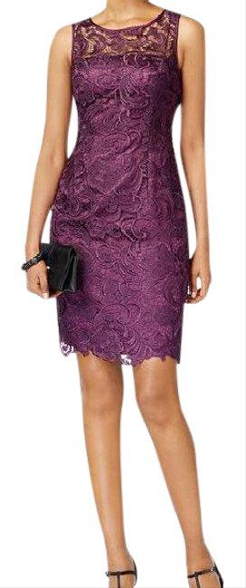 Preload https://img-static.tradesy.com/item/21706743/adrianna-papell-currant-lace-sheath-mid-length-formal-dress-size-10-m-0-1-650-650.jpg
