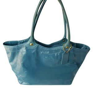 Coach Crinkle Turquoise Patent Bleecker Tote in Blue