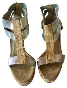 Donald J. Pliner Resort Style Metallic Silver/Cork Wedges