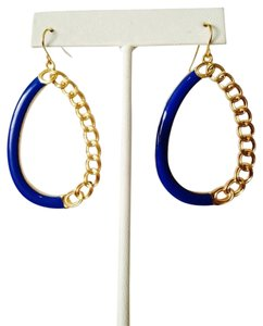 Other Royal Blue Enamel & Gold Chain Dangle Earrings