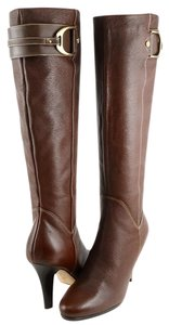 Cole Haan Brown Chestnut Leather Gold Buckle Knee High Chestnut Brown Boots
